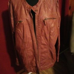 Jackets & Coats - Valerie Stevens Women faux leather brown jacket